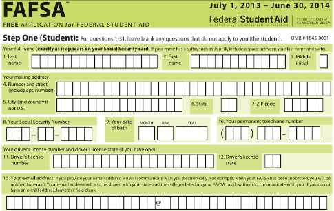 Lucrative image in printable fafsa form