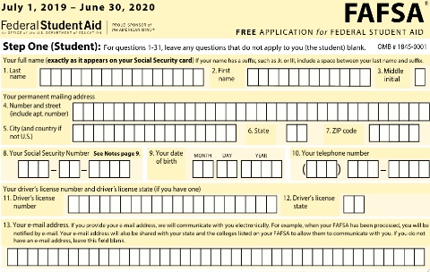 2019 2020 free application for federal student aid fafsa